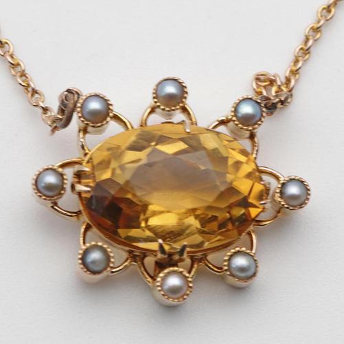 Edwardian Gold & Citrine Pendant (1 of 3)