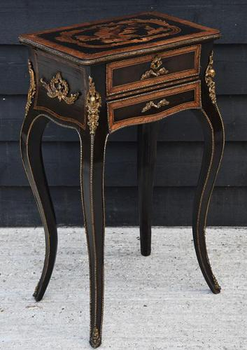 Striking 19th Century French Ebonised & Marquetry Side Table c.1880 (1 of 16)