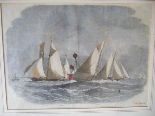 19th century engraving of The Royal Thames Yacht Club schooner match 1863 (1 of 5)