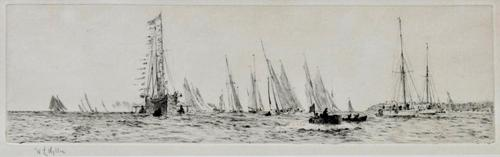 Etching by W.L.Wyllie RA 'cowes Week Racing with the Royal Yacht' c.1910 (1 of 1)