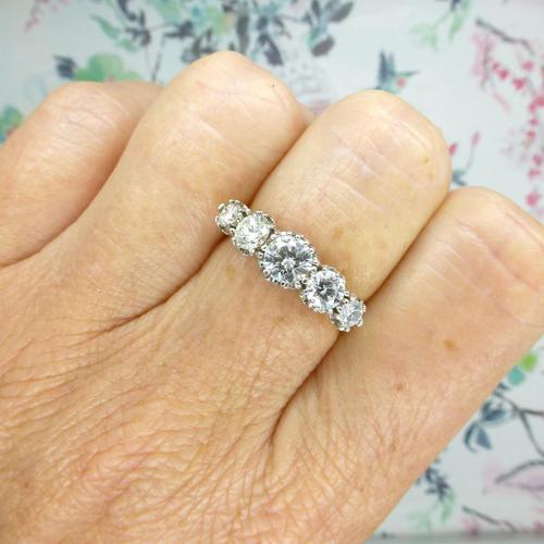 Vintage 18ct Platinum Five Stone Diamond Ring 1.20 Carat ~ with independent valuation (1 of 9)