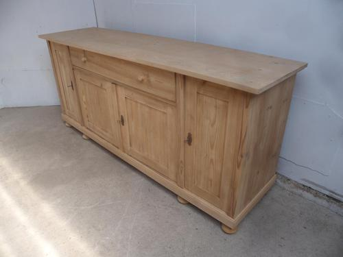 Large Antique Pine 4 Door Dresser Base / TV Stand / Sideboard to wax / paint (1 of 9)