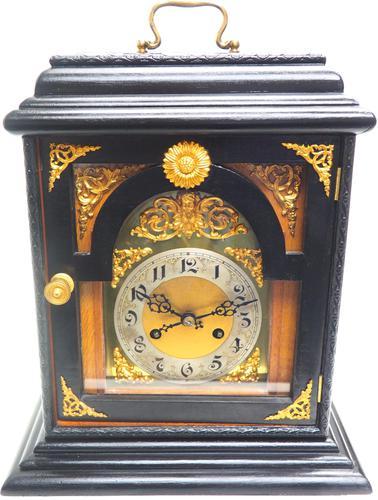 Interesting Quarter Striking German Bracket Clock by Junghans in Ebony Glazed Case (1 of 9)