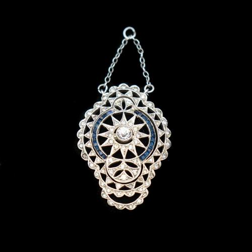 Antique Art Deco Paste Sterling Silver Star Pendant (1 of 10)