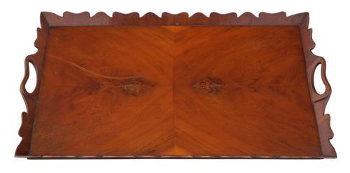 Vintage Quality Figured Walnut Oval Serving Tea Tray Mid 20th Century (1 of 4)