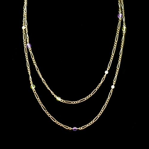 Antique Amethyst Peridot and Pearl Fiagro 15ct 15k Gold Long Guard Chain Necklace Suffragette (1 of 9)