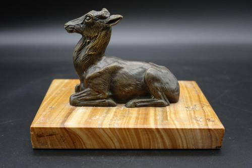 Well Modelled Early 20th Century Continental Bronze Model of a Recumbent Goat (1 of 6)