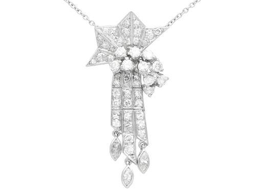 1.10ct Diamond & Palladium Tassel Pendant - Art Deco c.1935 (1 of 9)