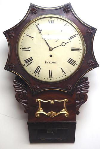 Rare Antique Drop Dial Wall Clock 8 Day Single Fusee Movement Signed J H Harvey Penzance (1 of 12)