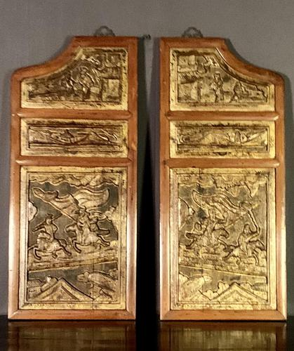 Good looking decorative pair of oriental gilded wall hangings (1 of 8)