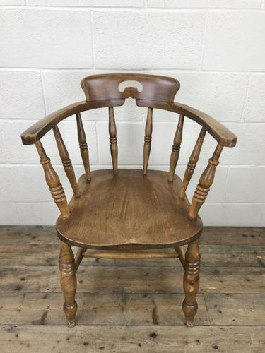 Antique Beech Spindle Back Smoker's Bow Chair (1 of 8)