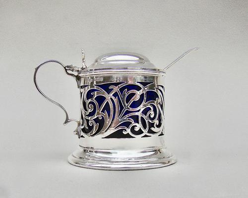 Edwardian Pierced Silver Mustard Pot by Joseph Rodgers & Sons, Sheffield 1905 (1 of 7)