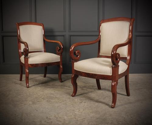 Pair of French Mahogany Empire Chairs (1 of 13)