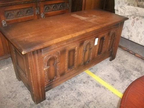 Carved Oak Lift Top Coffer (1 of 4)
