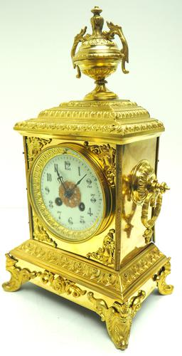 Fine French Ormolu Cubed Mantel Clock Classic 8 Day Striking Mantle Clock (1 of 10)