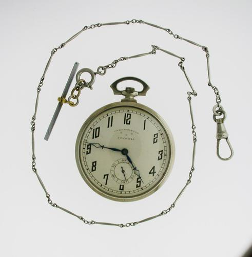 Juvenia Art Deco Nickel Plated Open Face Pocket Watch with Chain Swiss 1925 (1 of 7)