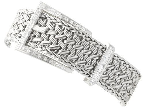 1.50ct Diamond & 18ct White Gold Bracelet - Vintage French c.1940 (1 of 10)