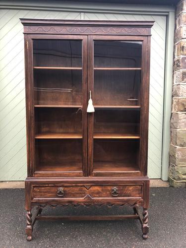 Antique Glazed Oak Barley Twist Bookcase (1 of 11)