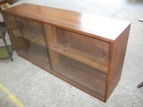 Retro Teak Bookcase with Glass Sliding Doors (1 of 3)