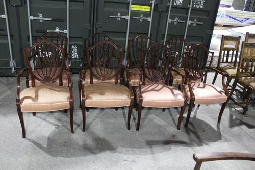1960s Set 8 Mahogany Shieldback Carver Chairs Pale Pink (1 of 4)