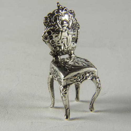 Victorian Miniature Silver Chair with Cherubs (1 of 8)