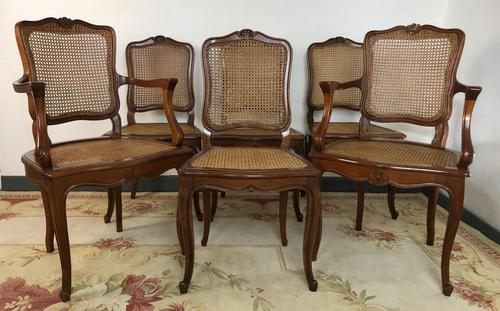 Vintage French Set of 6 Cherrywood Bergère Cane Dining Chairs with Carvers (1 of 14)