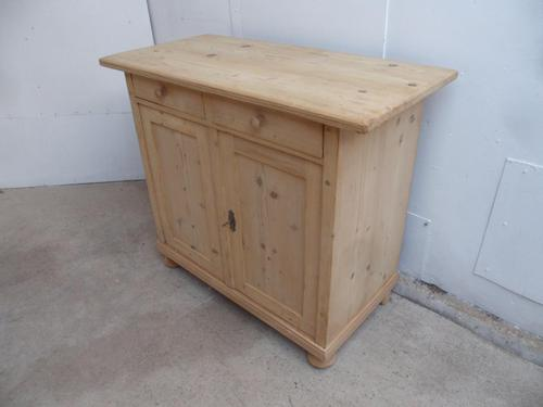 Tidy Antique Pine 2 Door 2 Drawer Dresser Base / TV Stand to wax / paint (1 of 7)