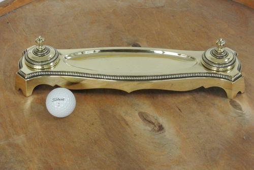 Antique Brass Twin Inkstand by William Tonks & Sons Neoclassical Style Inkwell (1 of 8)