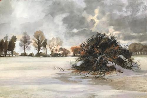 Original Tempera on Board 'winter Scene' by Peter Gardner Roi.rba. B.1921. Signed  and Dated 1988 (1 of 1)