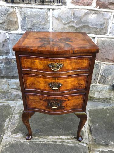 Antique Burr Walnut 3 Drawer Bedside Chest (1 of 8)
