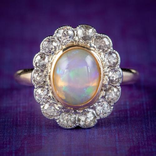Antique Edwardian Opal Diamond Ring 18ct Gold Platinum 1.80ct Opal Circa 1910 (1 of 7)