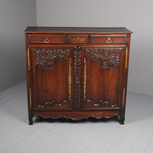 Antique Northern French Carved Oak Side Cabinet (1 of 15)