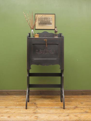 Unusual Antique Black Writing Bureau Desk with Folding Legs, Lockable, Gothic (1 of 13)