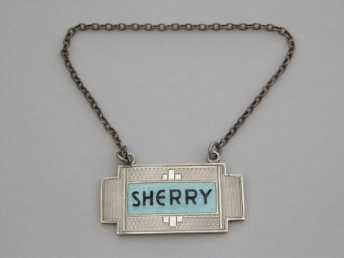 Art Deco Silver & Enamel Wine Label 'Sherry' by Turner & Simpson, Birmingham, 1933 (1 of 6)