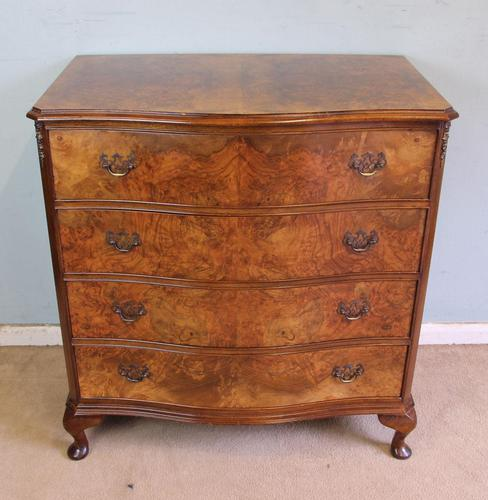 Antique Burr Walnut Shaped Front Chest of Drawers (1 of 7)