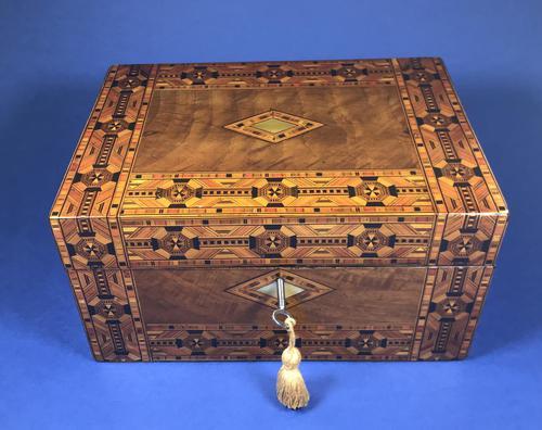 Victorian Walnut Tunbridge Ware Inlaid Jewellery Box (1 of 11)
