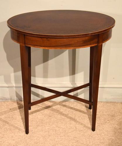 19th Century Mahogany Oval Lamp Table (1 of 5)