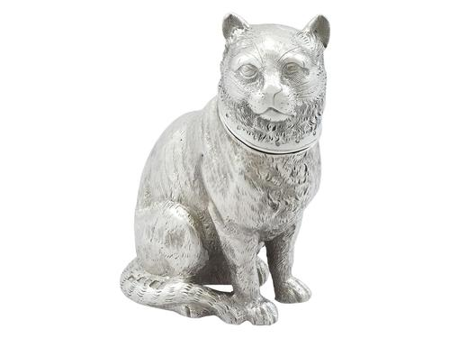 Sterling Silver Cat Shaker - Antique Victorian 1876 (1 of 9)