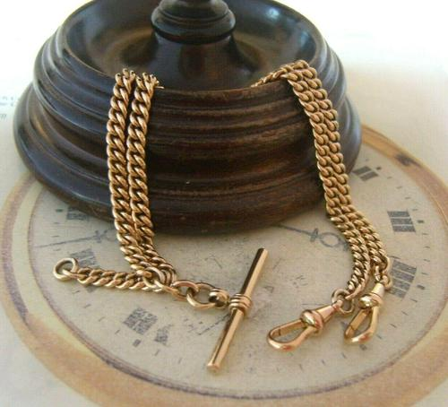 Pocket Watch Chain 1930s 12ct Rose Rolled Gold Double Albert With T Bar (1 of 12)