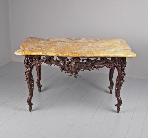 Victorian French Carved Fruitwood & Marble Top Console Table (1 of 19)