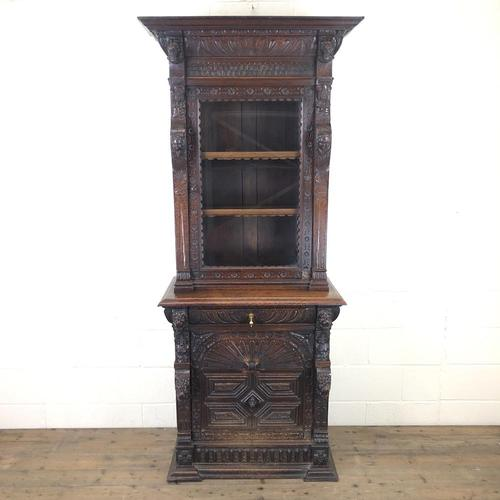 Victorian Carved Oak Cabinet with Glazed Top (1 of 11)