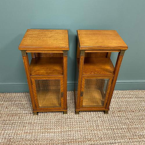 Unusual Pair of Victorian Satinwood Antique Cabinets (1 of 6)