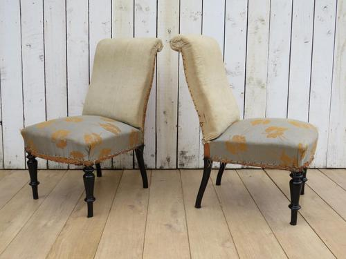 Pair of Antique French Slipper Chairs (1 of 9)