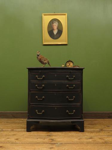 Antique Black Painted Serpentine Chest of Drawers, Bachelors Chest, Gothic (1 of 12)