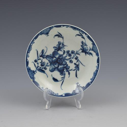 First Period Worcester Porcelain Mansfield Pattern Saucer c.1770 (1 of 2)