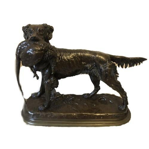 Large Bronze Figure of a Retriever with Pheasant on Naturalistic Base (1 of 4)
