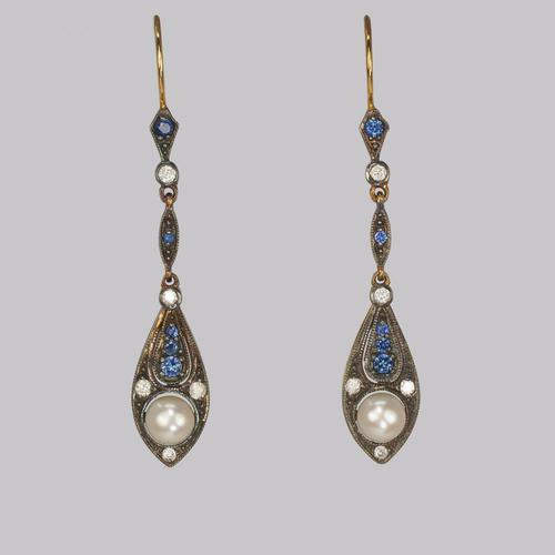 Vintage Pearl, Diamond & Sapphire Dangle 18ct Gold Edwardian Style Drop Earrings (1 of 4)