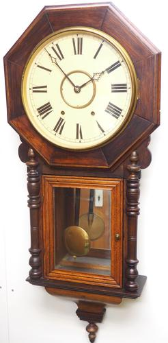 Impressive Victorian American Drop Dial Wall Clock 8 Day Movement Inlaid Case (1 of 14)