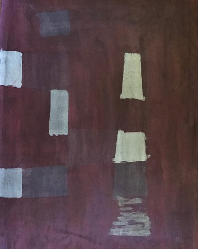 Original Mixed Media Painting 'Abstract Design' by Herman Shapiro - Initialled & Dated 65 (1 of 1)