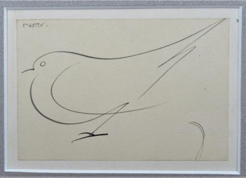 Norman Dudley Short (British), Study of a Bird, original drawing, c1940, mounted (1 of 4)